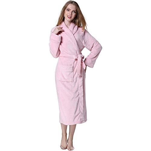 MLXG Pluche sjaalkraag Lange Badjas voor Vrouwen, Dames Fleece Flanellen Jurk Warm Nachtjapon Paar Loungewear