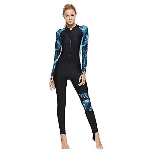 ADLOASHLOU Femme Combinaison De Plongée Épaissir Chaud élasticité Intégrale Tenue sous Marine Crème Solaire Plongee Surf Natation Triathlon Snorkeling Vetement Blue-X-Large