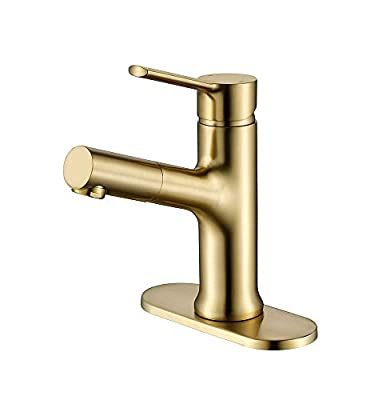 Havin HV2202BG Brass Material, Bathroom Sink Faucet,Bathroom Vanity Faucet with Brass Pull Out Sprayer,with 6 inch Deck Plate,Brushed Gold,Glossy Color