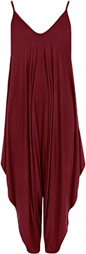 WearAll - Damen Lagenlook Strappy Harem Jumpsuit Kleid Cami Playsuit Weste Top - Wein - 36-38