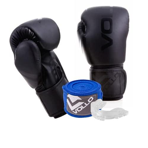 Kit Boxe Vollo Sports: 01 Luva de boxe training 10 oz PRETA + 01 bandagem elástica - GANHE 01 protetor bucal