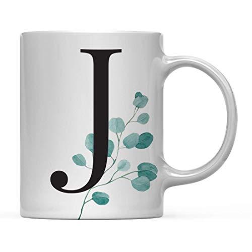 Taza de café de Regalo, Hojas de eucalipto, Verde, Monograma Inicial Letra J, Incluye Caja de Regalo, Ideas para Regalo de compañero de Trabajo de graduación del día de la Madre, 11 oz