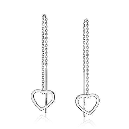 Sterling Silver Open Heart Threader Drop Earrings