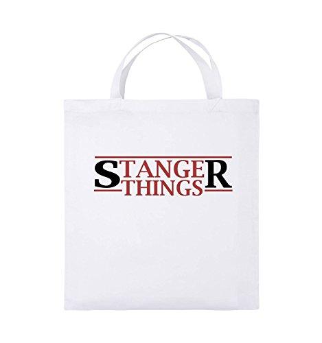Comedy Bags - Stanger Things - Logo - Jutebeutel - Kurze Henkel - 38x42cm - Farbe: Weiss/Schwarz-Rot