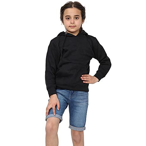 Kids Girls Boys Hoodie Sweatshirt Tops Casual Plain Pullover Fleece Hooded Jumper Unisex Sports and School Wear Age 7 8 9 10 11 12 13 Years Black 6years