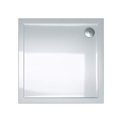 doporro Duschtasse Duschwanne Faro1W 90x90x4 flach aus Acryl in Weiß Quadratisch DIN-Anschlüsse für bodenebene Montage geeignet