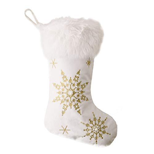 Cabilock Medias de Navidad Grandes Medias de Navidad Perla de Imitación Copo de Nieve Chimenea de Felpa Medias Colgantes Calcetín Bolsas de Regalo para Fiesta Navideña Granja País Dorado