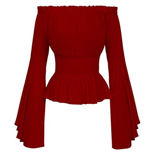 WE-WHLL - Blusa gtica renacentista para Mujer, Mangas Acampanadas, Volantes, Hombros Descubiertos, cors, Disfraz Medieval Victoriano, Disfraz de Pirata, Camisa roja