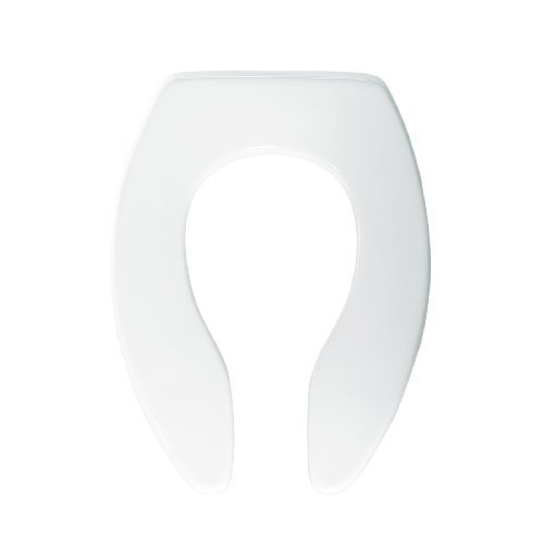 Bemis 1655SSCT000 Elongated Toilet Seat Open Front Less Cover with Self Sustaining Check Hinge, White by Bemis