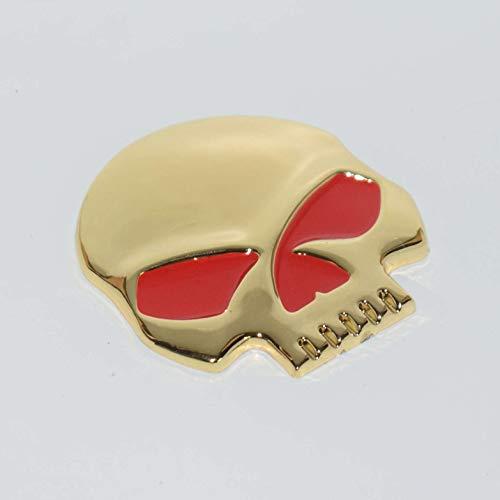 Skull Devil Demon Gold Red Badge Emblem Metal Hq Spooky Demon Ghost Punisher 3D Car Trunk Side Door Fender Auto Logo Adhesive Bone Head No Jaw [1 Piece][TOTUMY]