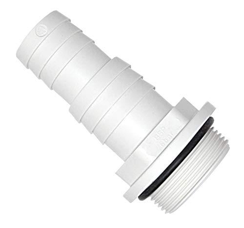 TS-TRADES Pumpenanschluss mit O-Ring Ø 38/32 mm x 1 ½ Zoll Außengewinde | Schlauchtülle Abgestuft | weiß ABS