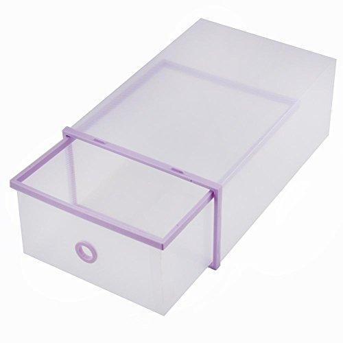 GAESHOW 5 Cajas de Almacenamiento Caja de Zapatos Plegable Organizador de Bolsa de Almacenamiento de Zapatos Caja de plástico Doble cajón apilable de litros púrpura