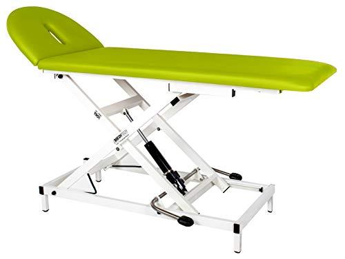 MEDITECH Therapieliege VARIO Nr. 1, hydraulisch höhenverstellbar I Behandlungs-Liege, Massage-Liege aus Stahl, hydraulisch, belastbar bis 190 kg, Bezugfarbe: grün