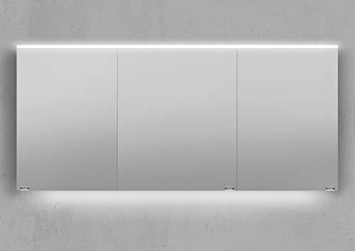 Intarbad ~ Spiegelschrank 160 cm integrierte LED Beleuchtung doppelt verspiegelt Beton Anthrazit