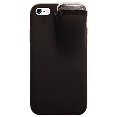 MoreChioce kompatibel mit iPhone 6S Plus Hülle,kompatibel mit iPhone 6 Plus Hülle 2 in 1,Multifunktion Transparent Kratzfest Silikon Handyhülle mit Airpods Hülle Case Protective Tasche Schwarz