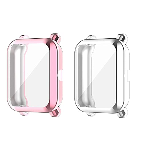 Kobmand Cases for Amazfit Bip,Screen Frame Protective Case for Amazfit Bip U/Amazfit Bip 1S/Amazfit Bip/Amazfit Bip Lite (Transparente&Rosa)