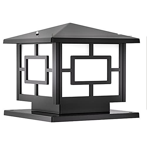 Chao Zan Lámpara de Sobremuro Exteriores Aluminio Luces de Pedestal Moderno Lámpara de Exterio Lámpara de Jardín IP65 Impermeable Cuadrad Lámpara de Pie Exterior E27 Patio Terraza Caminos, Negro