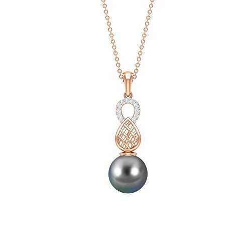 Collar de perlas de Tahití de 7,58 quilates, collar con colgante de diamante para mujer, collar grabado en oro, colgantes de cadena larga de oro, collar de perlas negras regalos negro