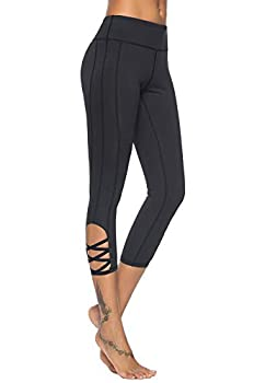 Mint Lilac Women s High Waist Pocket Yoga Leggings Athletic Tummy Control Casual Pants with Straps Medium Black