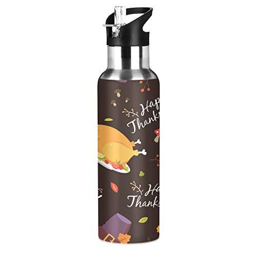 BGIFT Botella de agua con diseño de pavo de Acción de Gracias con tapa de pajita, aislada al vacío, taza termo de acero inoxidable, botella de agua de 20 onzas para deporte, bicicleta, fitness, sende