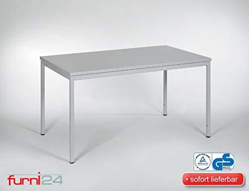 furni24 Schreibtisch Homeoffice Mehrzwecktisch grau 140 cm x 80 cm x 75 cm Verschiedene Größen schöner Stabiler PC-Tisch mit viel Bein freiheiten