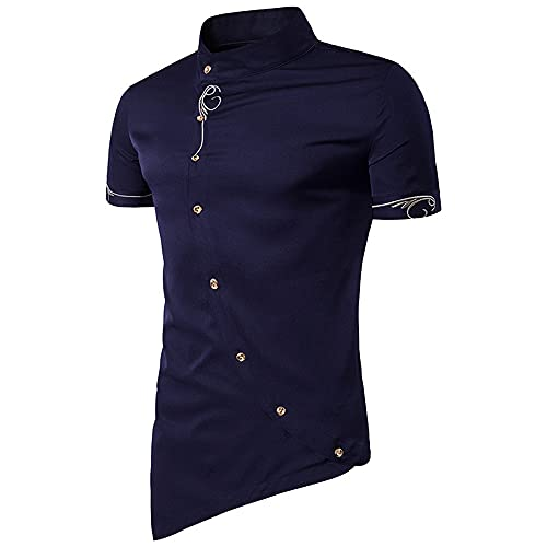 Qienjn Men Shirt Slim Fit Print Irregular Button Placket Men Leisure Shirt Summer Stand-Up Collar Short-Sleeved Men Collarless Shirt Fashion Urban Vintage Men'S Muscle Shirt B-Blue 2 S