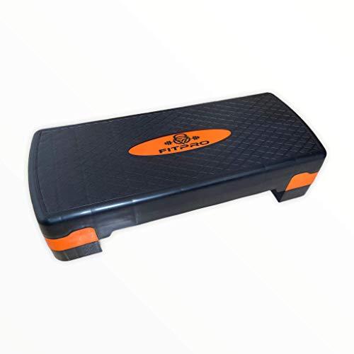 Step de Aeróbic y Fitness Tipo Tabla Plataforma para Deporte y Gimnasia con Altura Regulable a 2 Niveles Carga 150kg (Naranja)