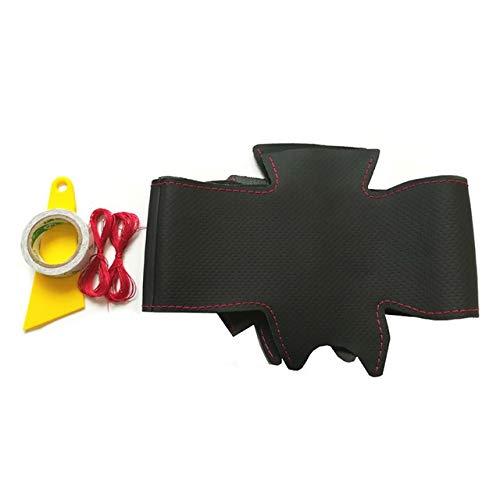 Cubierta de Volante Cuero auténtico DIY trenzada a mano de coser la cubierta del volante accesorios del coche for Nissan Qashqai J10 J11 X-Trail T31 NV200 Rogue mejor agarre ( Color : Red thread )