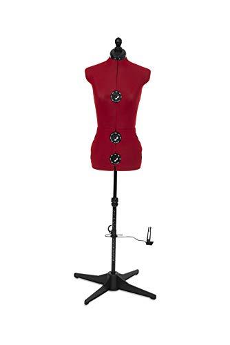 Adjustoform Diana 8 Part Dress Form, Cherry Red Nylon Fabric, Small