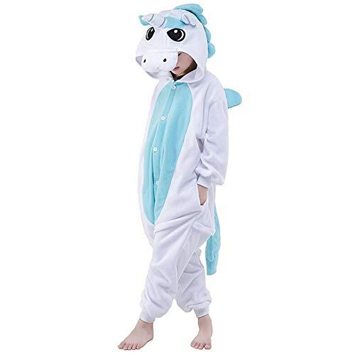 LATH.PIN Kinder Pyjamas Tier Karneval Jumpsuit Nachtwäsche Unisex Cosplay Kostüm für Mädchen und Jungen (Einhorn Blau, 125/Größe:135-145cm)