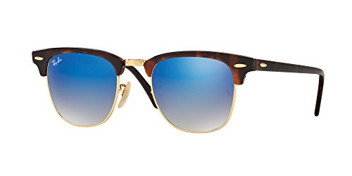 Ray-Ban RayBan Clubmaster Gafas de sol, Marrón (Havana Frame With Gold Rims and Blue Mirror Lenses), 51.0 Unisex Adulto