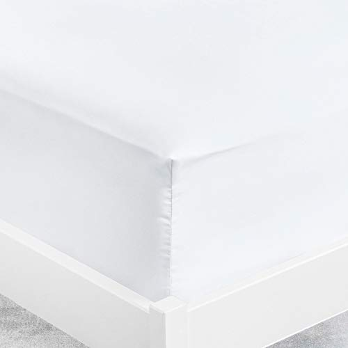 ViscoSoft–Sábana bajera de microfibra, blanco, 90_x_190_x_30_cm