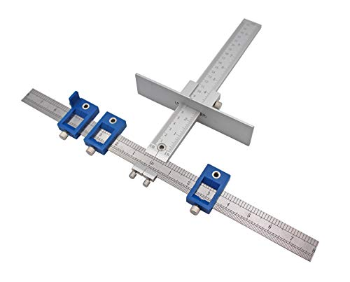 Both Inch and Metric - Quick-Set Cabinet Drilling Jig Template for Easy Installation for Handles and Knobs on Doors and Drawer Fronts, Fastest and Most Accurate Knob & Pull Jig-Improve for inch Scale.