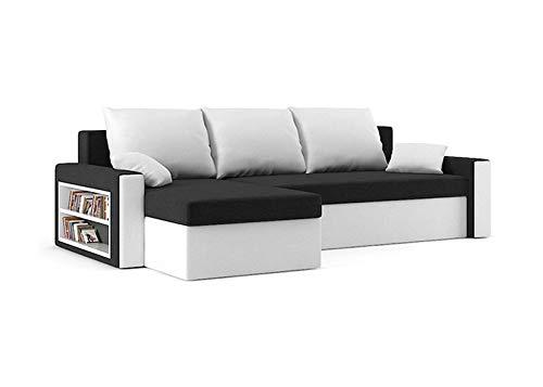 Sofini Ecksofa Drive mit Schlaffunktion! Best Ecksofa! Couch mit Bettkasten und Regalfächer! (Haiti 17+ Haiti 0)