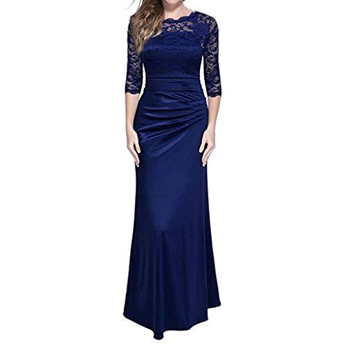 Dwevkeful Vestidos Larga Elegante de Noche de la Boda del Cordón de Las Mujeres del Vintage Hi-Lo Elegante Mujer Flor Encaje Vestidos para Madrina Fietsa