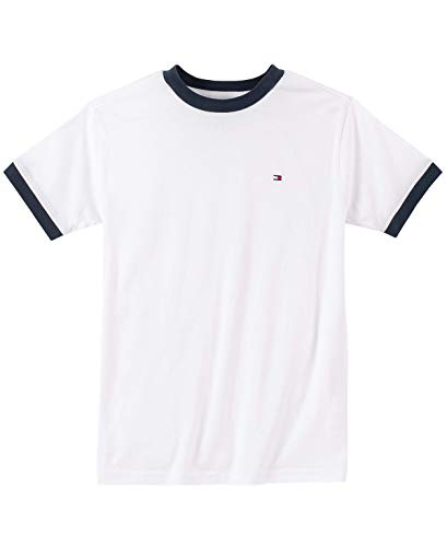 Tommy Hilfiger Big Boys' Core Crew Neck Ken Tee, Classic White, Large (16/18)