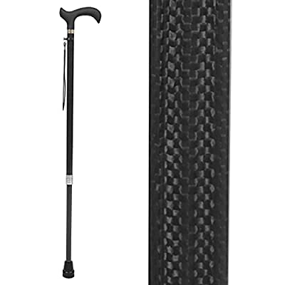 Vive Carbon Fiber Cane - Lightweight Walking Stick for Men and Women - Mobility Aid with Adjustable Heigh - Rubber Tip - Portable Support for Seniors and Elderly - Ultra Light with Soft Hand Grip by Vive Health