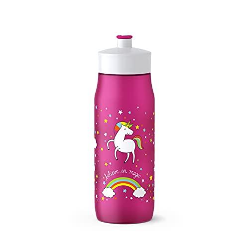 Emsa 518089 Squeeze Sport-Trinkflasche | 0,6 Liter Fassungsvermögen | Ohne BPA | 100% auslaufsicher und spülmaschinengeeignet | Robust und stylisch | Unicorn, Pink