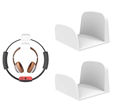 sciuU Soporte de Pared para Auriculares, [Conjunto de 2] Multiusos Gancho Adhesivo 3M, Colgar los Auriculares, Accesorios para Headphone/Fitness Ring-con/Pilates/Hoop, Blanco