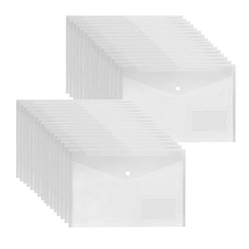 Dokumententasche A4 Transparent - 36 Stück Dokumentenmappe Sammelmappe din A4 Sichttasche mit Druckknopf