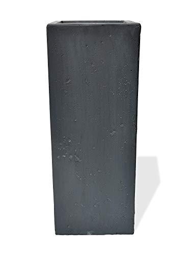 Köhko® Blumenkübel aus Fiberglas Pflanzkübel Blumentopf 35x35x71 cm Anthrazit Säuletopf