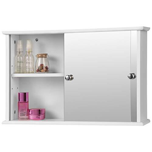 EUGAD Spiegelschrank für Badzimmer Hängeschrank Badschrank Spiegel mit Ablage Schminkschrank aus Holz 56 x 36 x 14 cm weiß