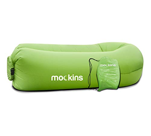 Mockins Inflatable Lounger Air Sofa Perfect for Beach Chair Camping Chairs or Portable Hammock and Includes Travel Bag Pouch and Pockets   Easy to Use Camping Accessories -Green Color