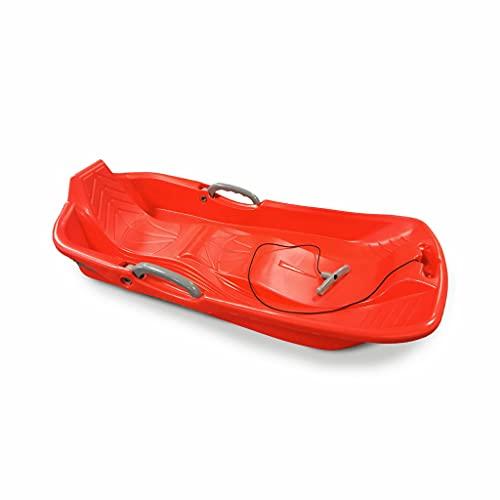 Luge 2 Places Rouge avec Freins. Ficelle et poignée Tire Luge. Made in France