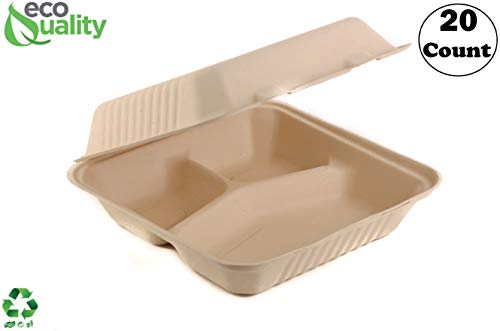 [20 Pack] 9 Inch 3-Compartment Compostable Hinged Take Out Food Container - Sugarcane Bagasse, Tree Free - Restaurant Supplies, Microwavable, Bidodegradable, Recyclable, Heavy Duty (Rectangle - Clam)