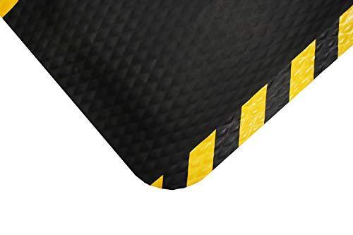 M+A Matting - 424020035 Hog Heaven Industrial-Grade Anti-Fatigue Mat | OSHA Yellow Striped Border | Welding Safe, Slip Resistant, Grease/Oil Proof, Ergonomic 7/8-inch Mat (Black, 3
