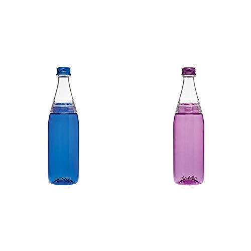 Aladdin Fresco Twist & Go Tritan-Trinkflasche, 0.7 Liter, Blau, Geeignet für Kohlensäure, Spülmaschinengeeignet & Fresco Twist & Go Tritan-Trinkflasche, 0.7 Liter, Lila, Geeignet für Kohlensäure