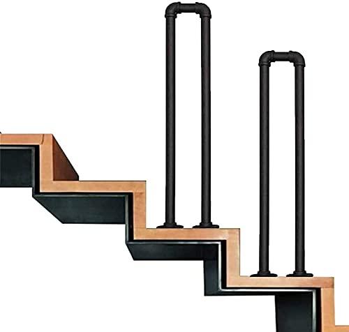 LYP Kit Completo de pasamanos de Escalera, Hierro Forjado + Material de tubería galvanizado, barandilla en Forma de U, fácil de Instalar, para escalones Interiores y Exteriores, 1 Paquete (tam