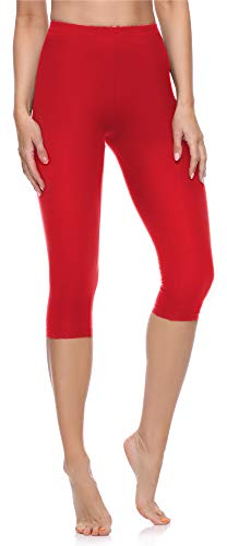 Merry Style Damen 3/4 Leggings aus Baumwolle MS10-199 (Rot, L)