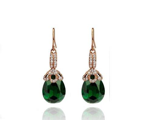 Vintage Design Long Luxury Teardrop Gold & Emerald Green Drop Earrings E581